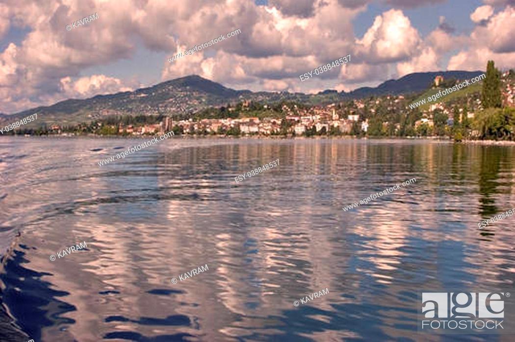 Stock Photo: A panorama of coast of lake Leman in Switzerland.