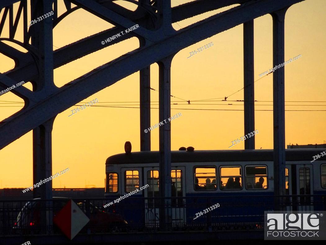 Stock Photo: Tram on bridge, Krakow, Poland.