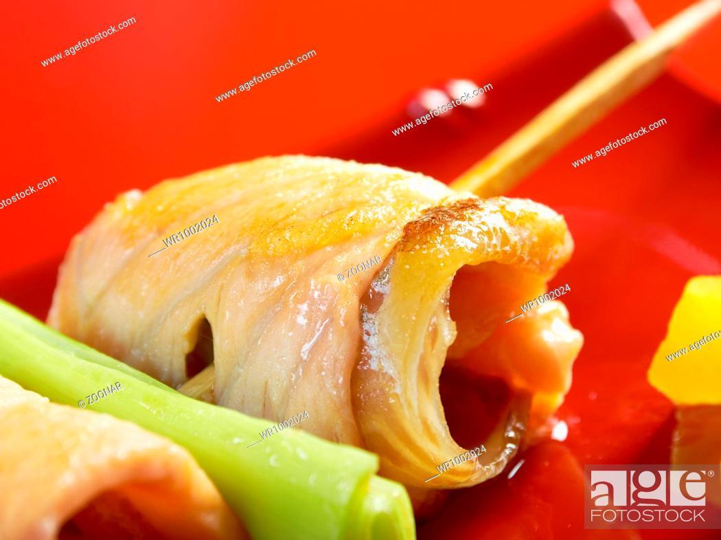 Stock Photo: Japanese skewered salmon Yakitori.
