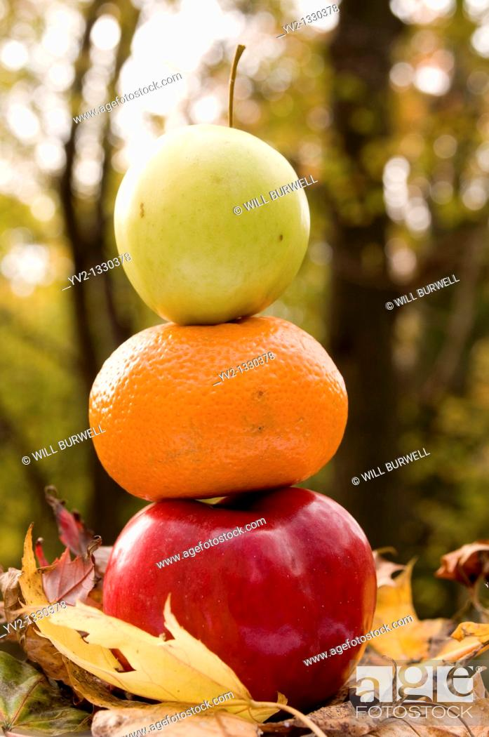 Stock Photo: Two apples and an Orange stacked.
