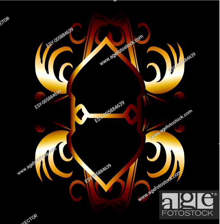 Stock Vector: metalic gold wings and shield vector art.