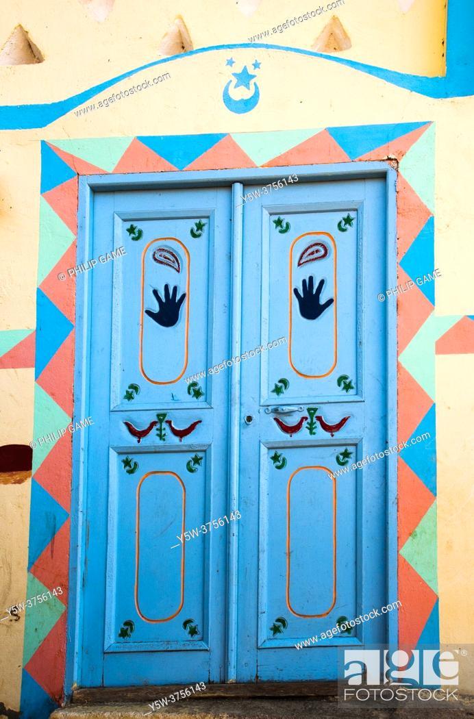 Stock Photo: Doorway of a traditional Nubian home on Elephantine Island, Aswan, Egypt.