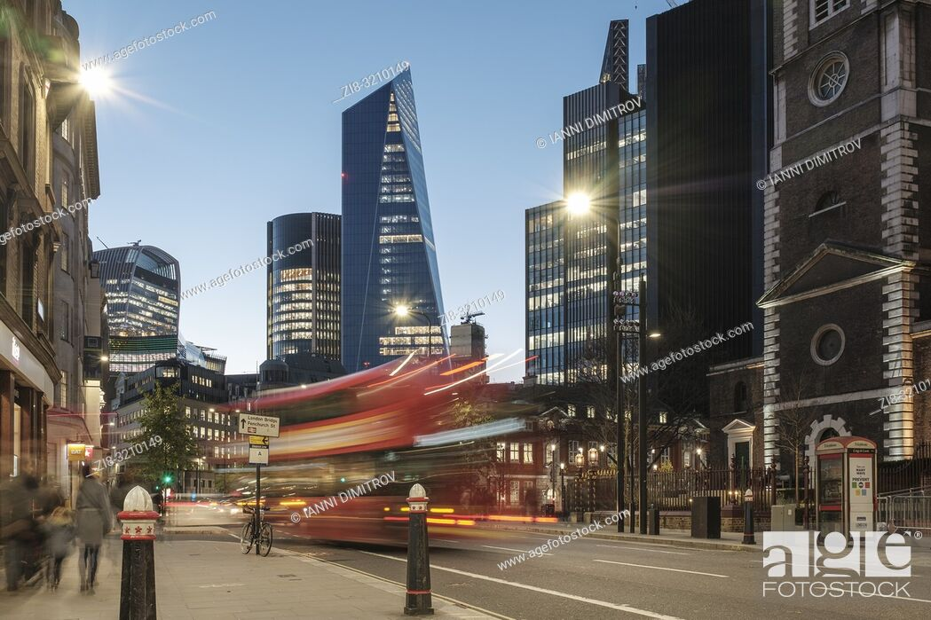 Stock Photo: England, London, Aldgate high Street at night with view of the Financial Centre The city of London.