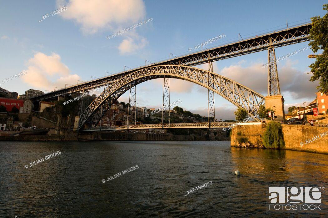 Stock Photo: Ponte Dom Luis, Bridge in Porto, Portugal  Late afternoon sun.