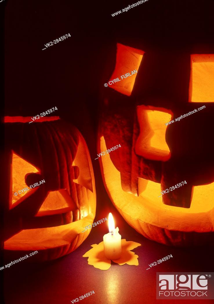 Stock Photo: Two Halloween Jack O Lanterns.