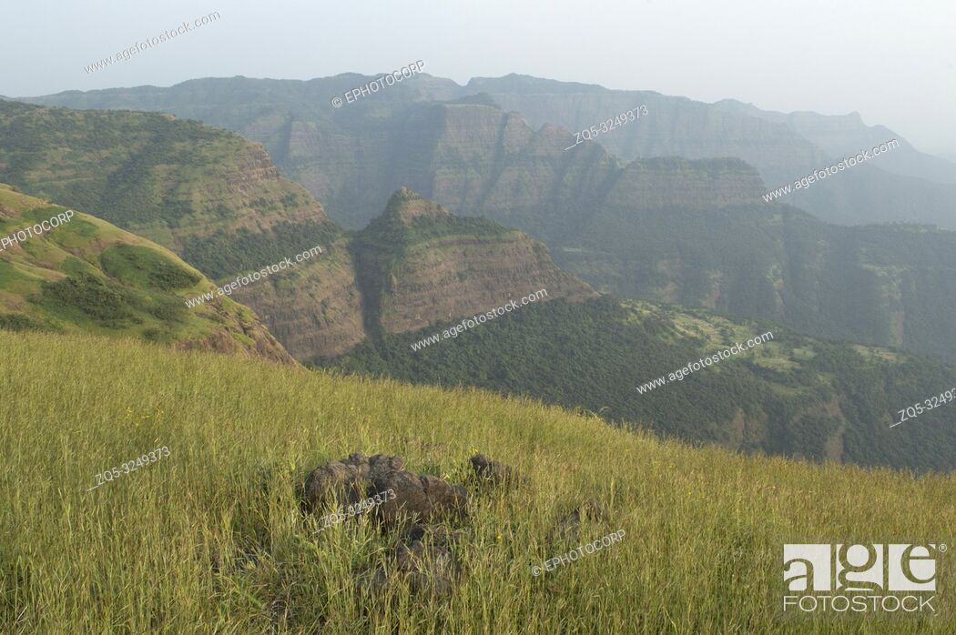 Stock Photo: Landscape view of the beautiful Sahayadri mountain ranges of western Ghats.
