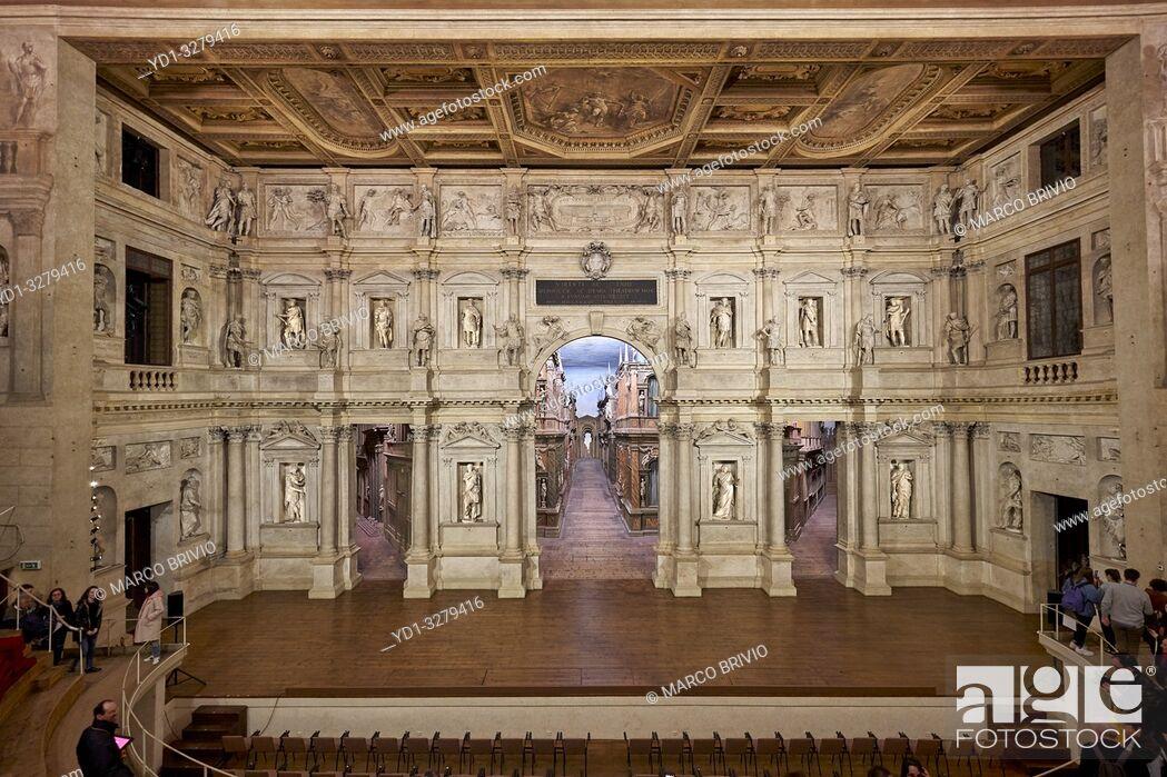 "Stock Photo: Vicenza, Veneto, Italy. TheTeatro Olimpico(""Olympic Theatre"") is a theatre inVicenza, northernItaly, constructed in 1580-1585."