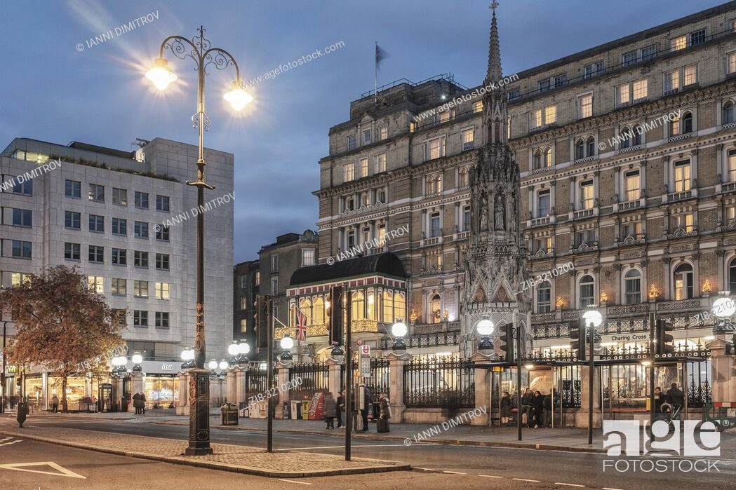 Stock Photo: London Charing Cross . Charing Cross Station is located at the western end of The Strand in the City of Westminster, east of Trafalgar Square and northeast of.