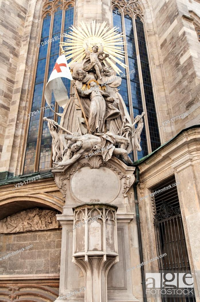 Stock Photo: Pulpit of Johannes Capistrano  Originally the main puplit inside the cathedral from which Johannes Capistrano preached a crusade in 1454 against the Muslim.