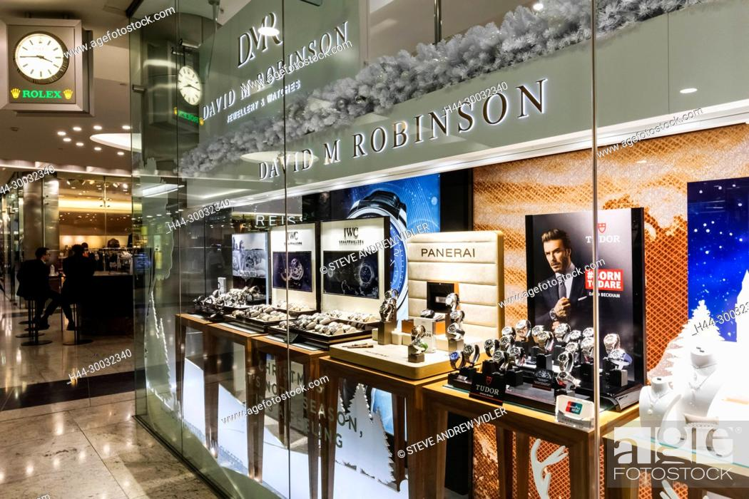 Stock Photo: England, London, Canary Wharf Shopping Centre, David M Robinson Jewellery and Watches Store.