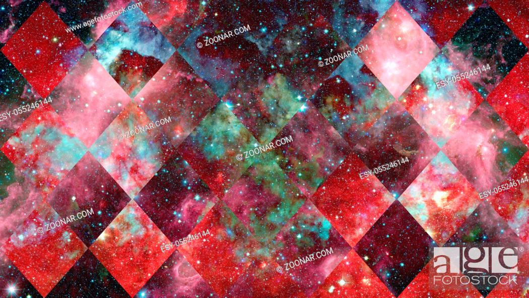 Photo de stock: Universe, nebula, galaxy and the sacred geometry collage. Abstract outer space. Elements of this image furnished by NASA.