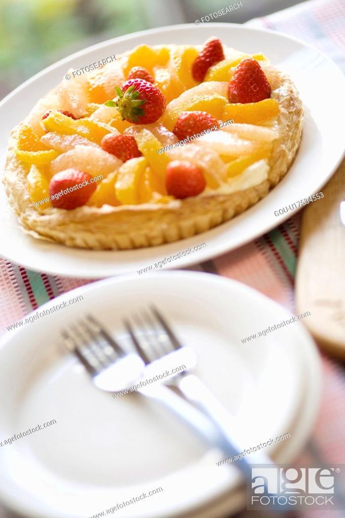 Stock Photo: Fruit tart.