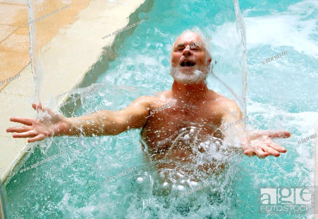 Stock Photo: Mature man in spa.