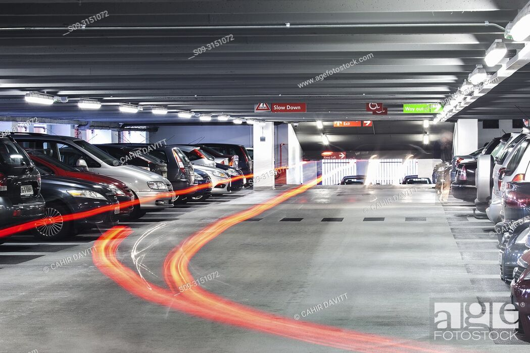 Stock Photo: Light trails in the interior of Q-Park Eyre Square car park, Galway, Co. Galway, Ireland.