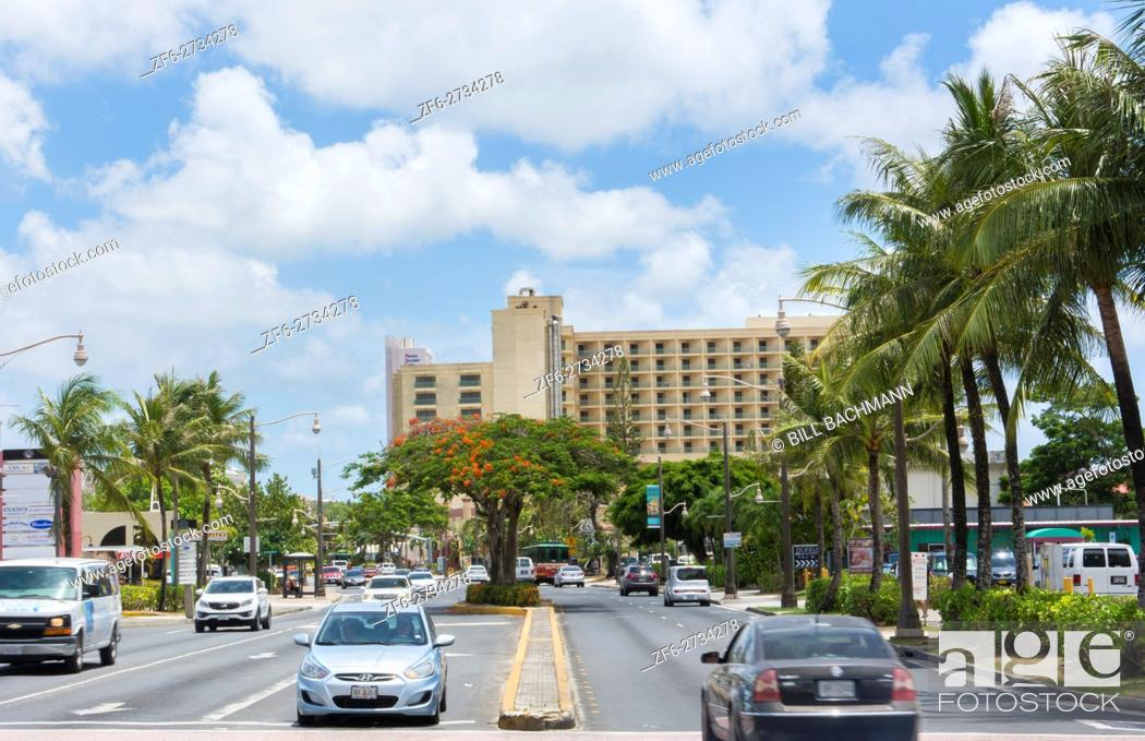 Stock Photo: Guam USA Territory traffic on Main Street in Tumon Bay in tourist district of country.
