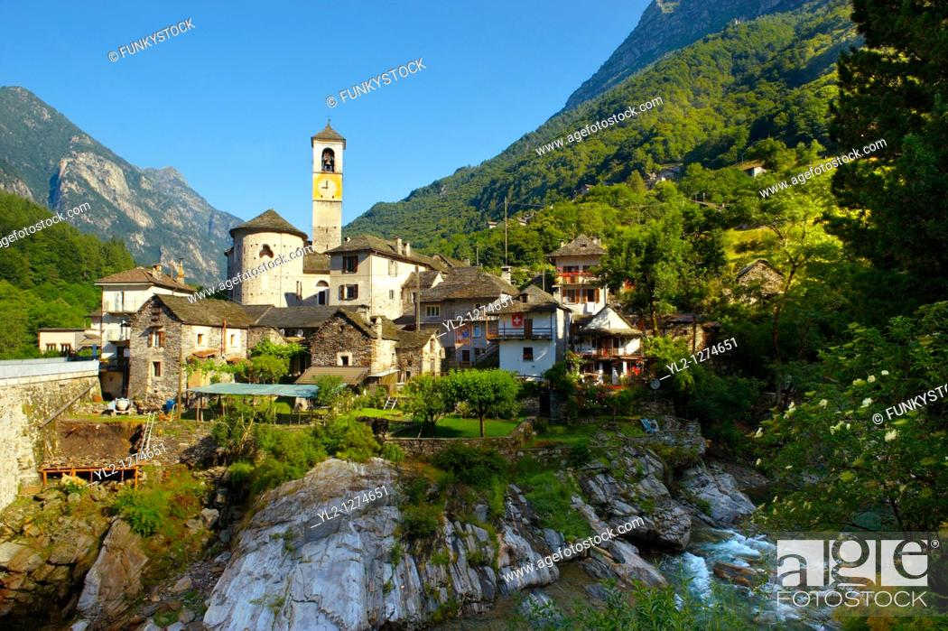 Stock Photo: Rustic mountain village of Lavertezza with stone houses and church -Val Verzasca, Ticino, Alps,.