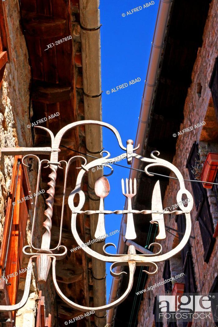 Stock Photo: Restaurant sign, Castellar de n'Hug, Catalonia, Spain.