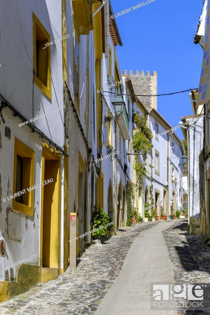 Stock Photo: Narrow street in the old town of Castelo de Vide village, Portalegre District, Alentejo Region, Portugal.