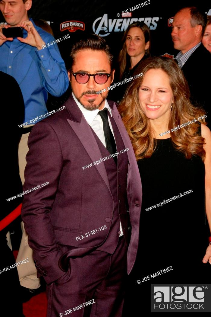 Stock Photo: Robert Downey Jr. and his wife Susan Downey at the World Premiere of Marvel's The Avengers. Arrivals held at El Capitan Theatre in Hollywood, CA, April 11, 2012.