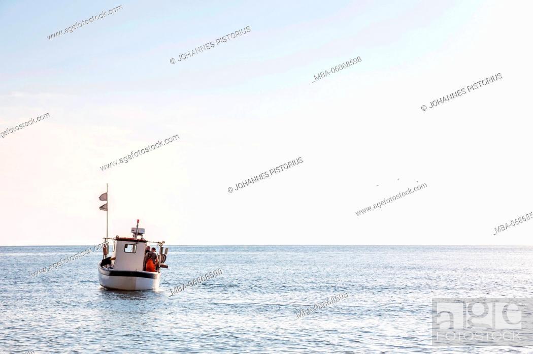 Stock Photo: Fishing boat in front of Jons Kapel / Jon's chapel, Europe, Denmark, Bornholm,.