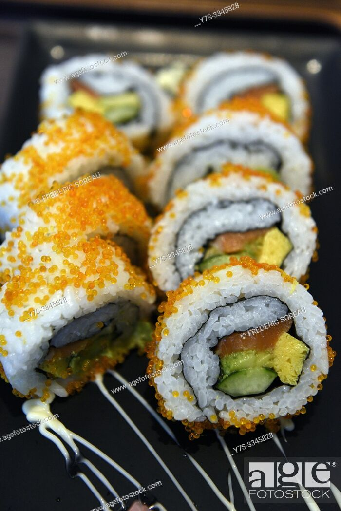 Stock Photo: California roll or Japanese sushi roll, Japan, Asia.