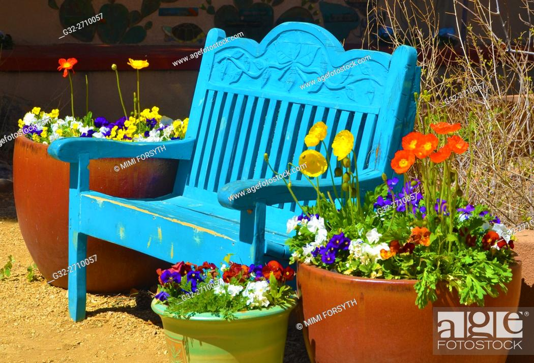 Stock Photo: Bench, springtime, with flowers, New Mexico, USA.