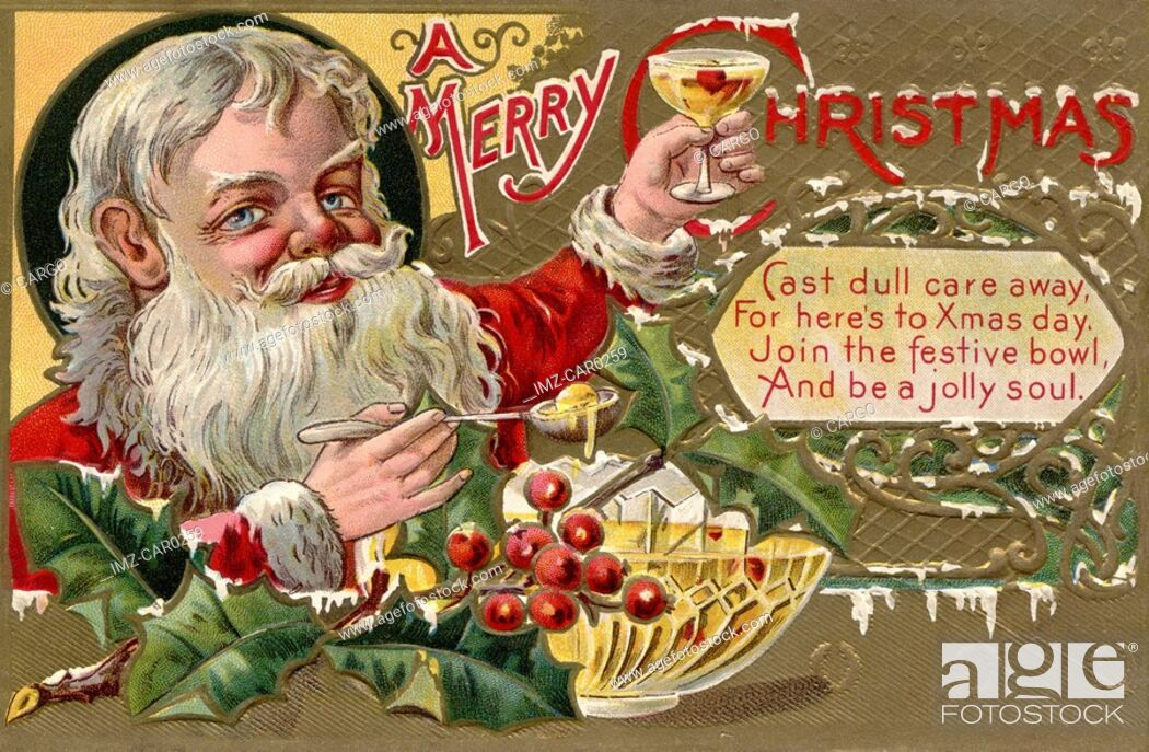 Stock Photo: Vintage Christmas postcard of Santa Claus holding a glass of punch.