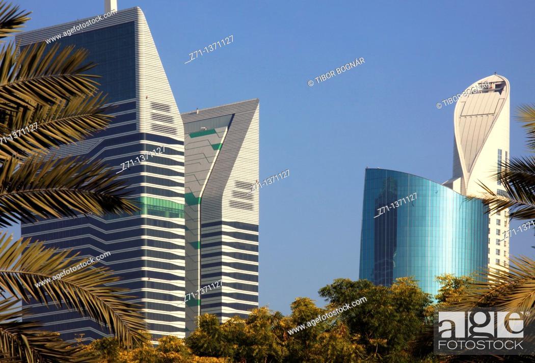 Stock Photo: United Arab Emirates, Dubai, Sheikh Zayed Road, skyscrapers,.