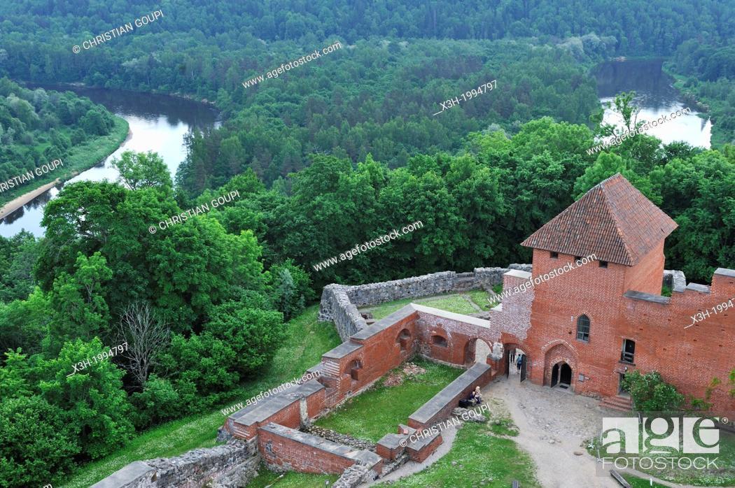 Stock Photo: Medieval brick castle overhanging the Gauja River, Turaida Museum Reserve, Sigulda, Gauja National Park, Vidzeme Region, Latvia, Baltic region, Northern Europe.