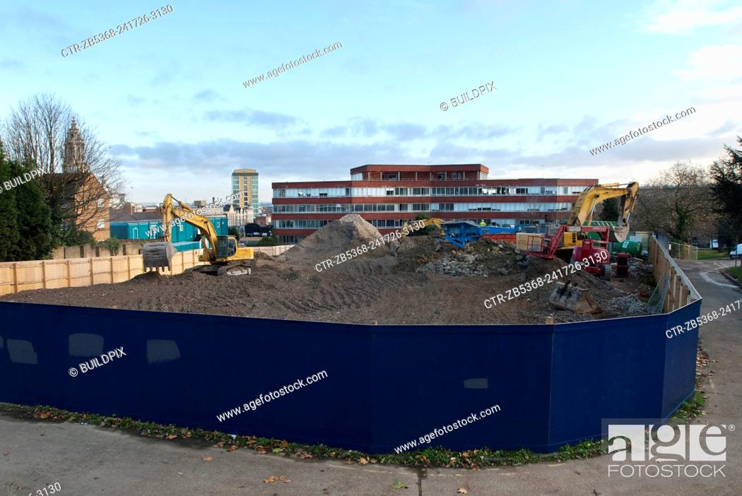Stock Photo: Preparation of a site for construction, Greenwich, South London, UK.
