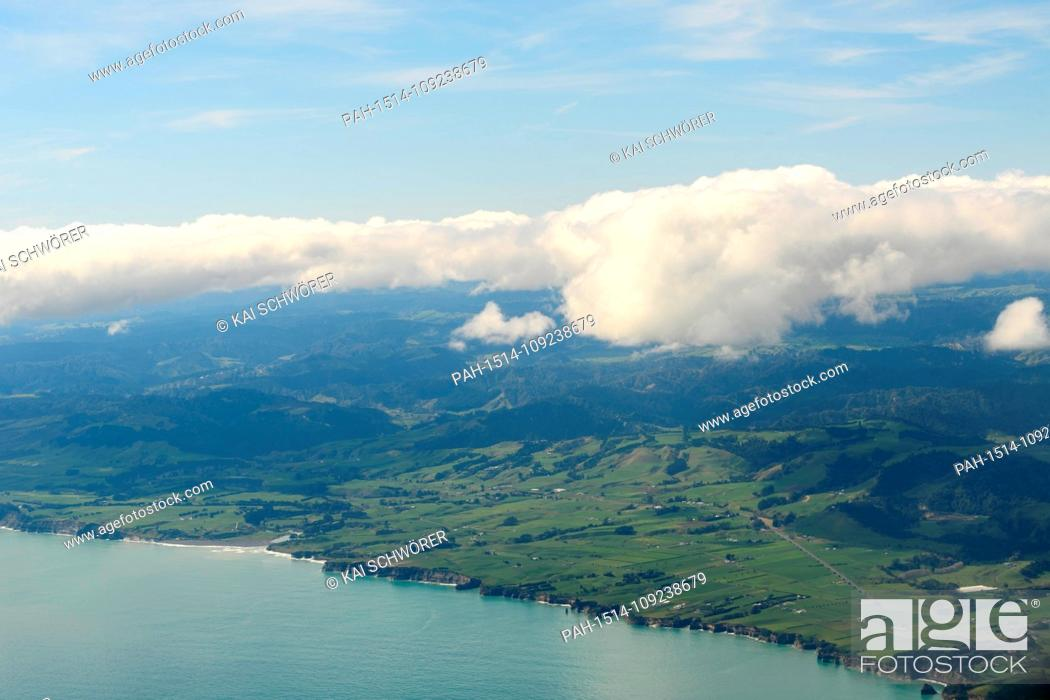 Stock Photo: New Plymouth, New Zealand - September 10, 2018 - Aerial view of the West Coast of the North Island on September 10, 2018 near New Plymouth, New Zealand.