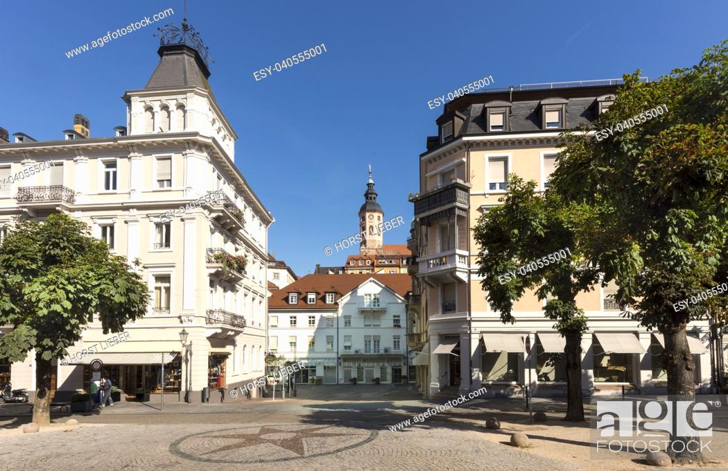 Stock Photo: The old town of Baden Baden in the background the collegiate church. Baden Wuerttemberg, Germany, Europe.