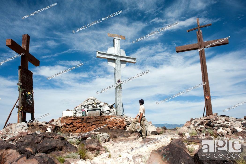 Stock Photo: Tome Hill Calvario Three crosses in New Mexico.