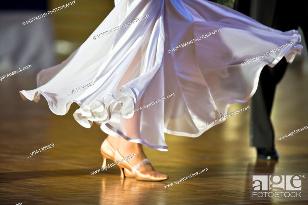 Stock Photo: A female dancer doing ballroom dancing.