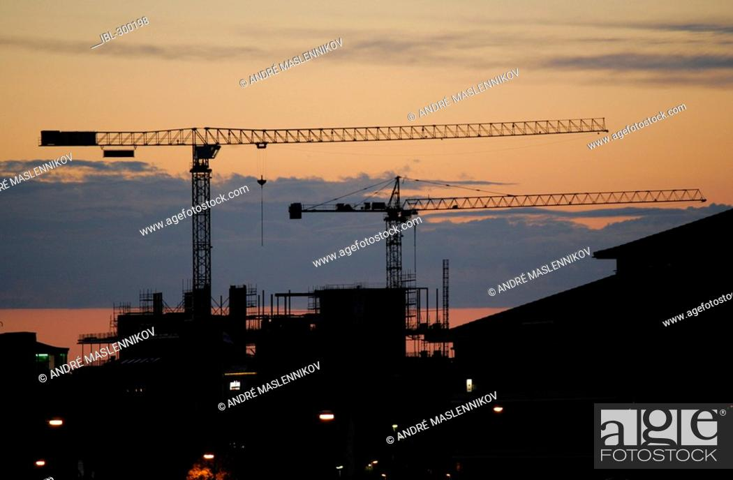 Stock Photo: Cranes, Uppsala, Sweden.