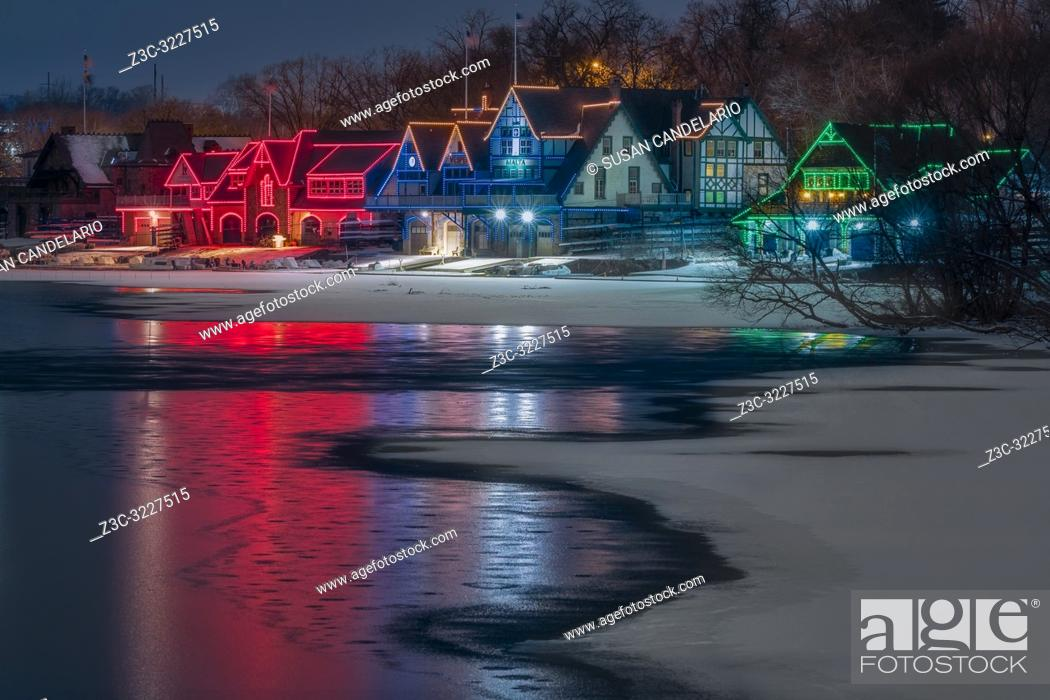 Stock Photo: Boathouse Row Philly PA - in Philadelphia, Pennsylvania. Computerized LED lights illuminate and outline each of the houses at Boathouse Row in holiday colors.