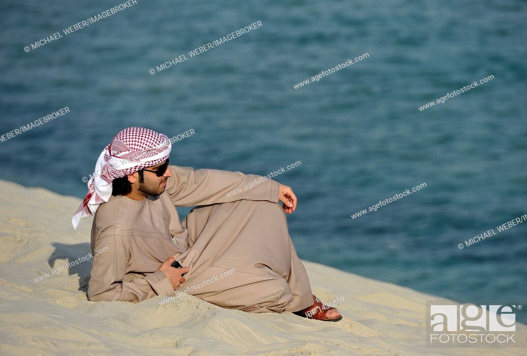 Stock Photo Arab In Front Of Khor Al Udeid Beach El Deid