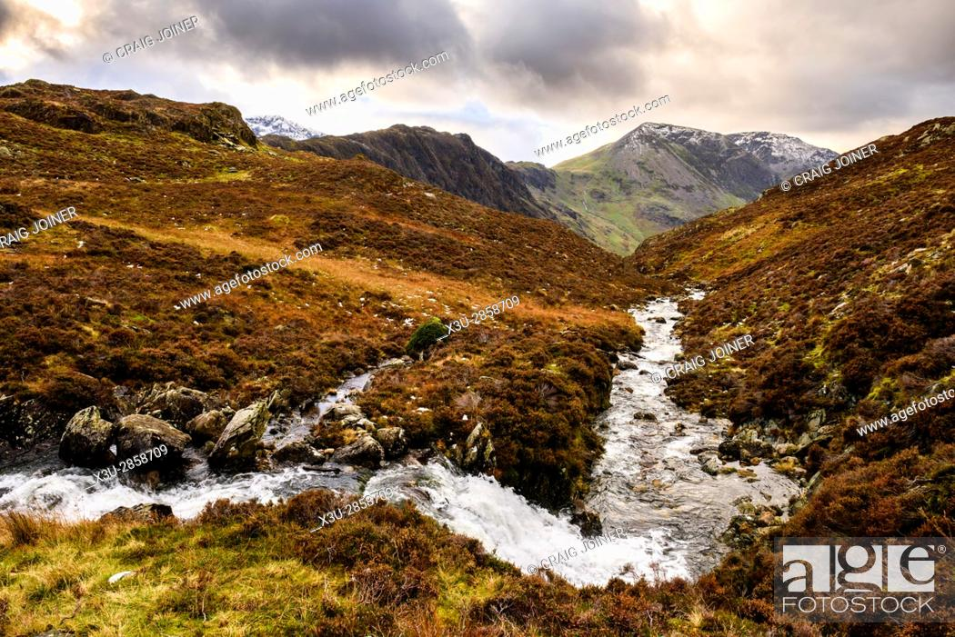 Stock Photo: Warnscale Beck on the side of Fleetwith Pike with Hay Stacks and High Crag beyond. Lake District National Park, Cumbria, England.