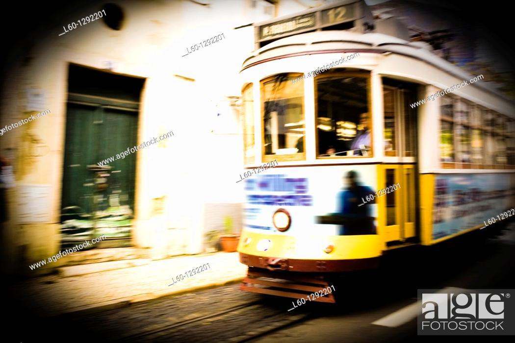 Stock Photo: Tram in Alfama, Lisboa, Portugal.