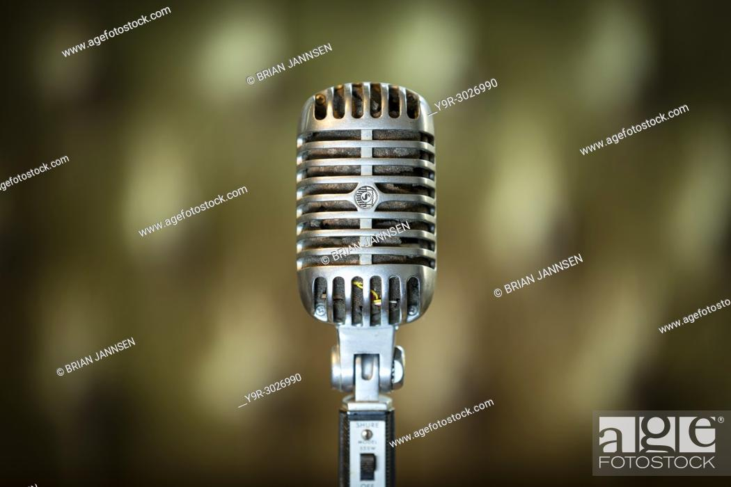 Stock Photo: Vintage Elvis Presley Shure 555W Unidyne Dynamic Microphone from the 1960's.