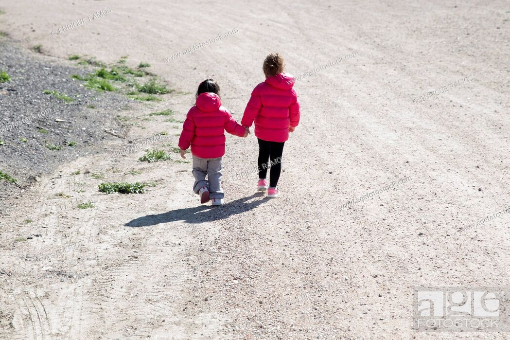 Stock Photo: Back view of two little sisters walking hand in hand.