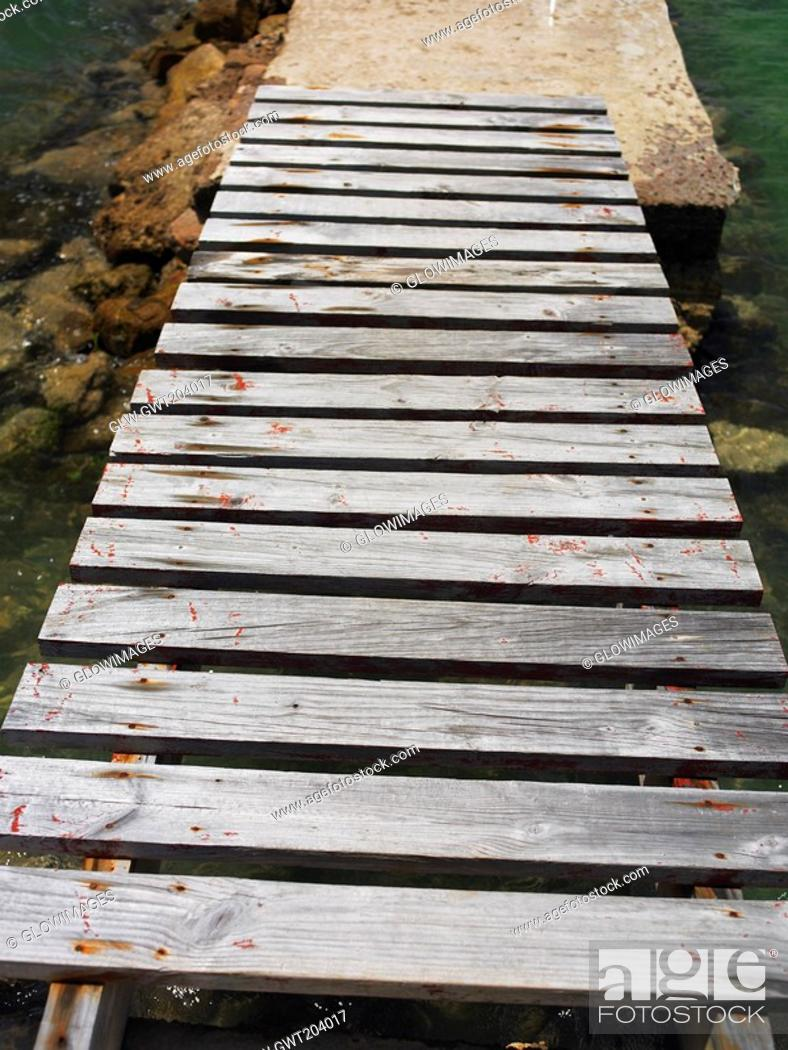 Stock Photo: High angle view of a boardwalk, Providencia, Providencia y Santa Catalina, San Andres y Providencia Department, Colombia.
