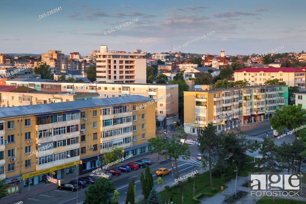 Stock Photo: Romania, Danube River Delta, Tulcea, elevated city view.