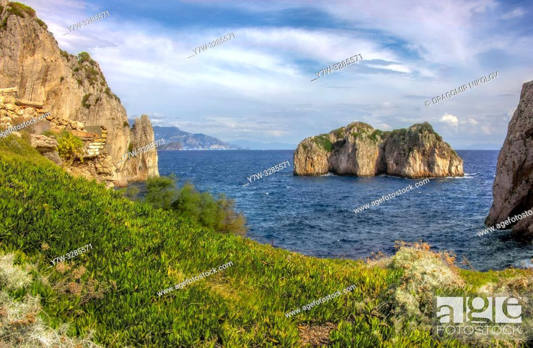 Stock Photo: Capri island in a beautiful summer day in Italy.