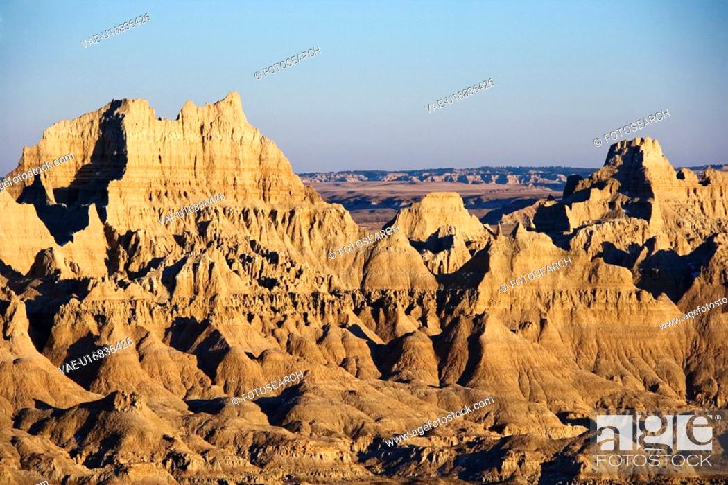 Stock Photo: Landscape in Badlands National Park, South Dakota.