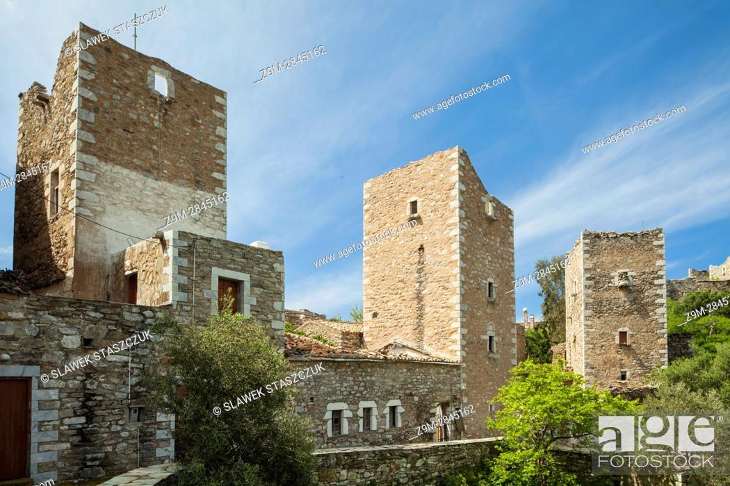 Stock Photo: The abandoned fortified settlement of Vathia, Laconia, Peloponnese, Greece. Mani Peninsula.