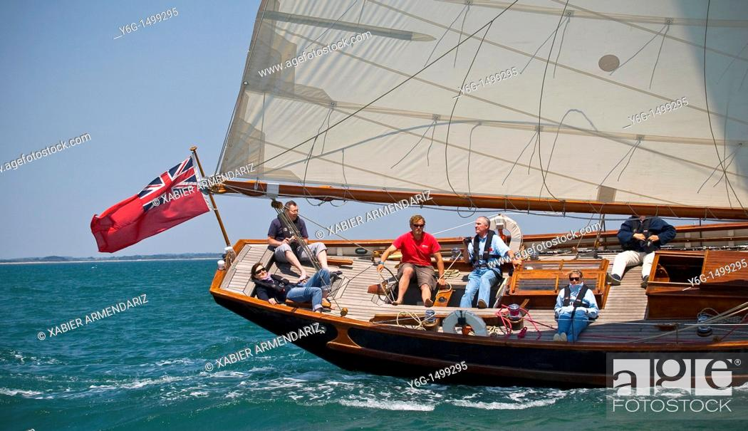 Stock Photo: English old yatch sailing, Bay of Morbihan, Brittany, France, Europe.