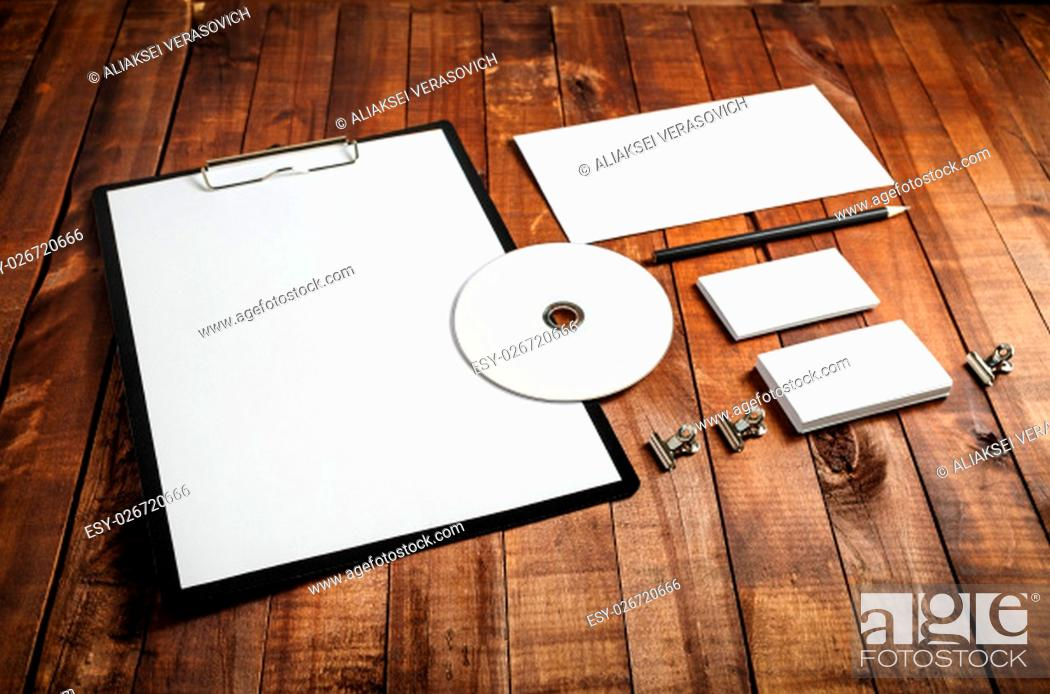 Stock Photo: Blank stationery set. Blank corporate identity template on vintage wooden background. Mockup for design presentations and portfolios.