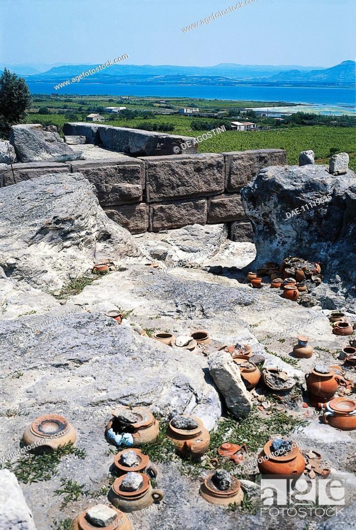 Stock Photo: Burial urns, Phoenician Tophet (Sanctuary), 8th-1st century BC, ancient necropolis of Sulcis, Sant'Antioco, Sardinia, Italy.