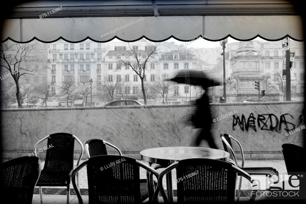 Stock Photo: Lisbon, terrace of a bar, rainfall.
